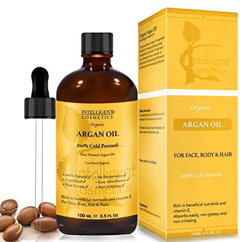 Olio di argan 100% pressato a freddo puro bio argan marocchino 100ml per capelli, unghie, viso, corpo, mani e piedi, fornito in bottiglie di vetro contagocce con pipetta