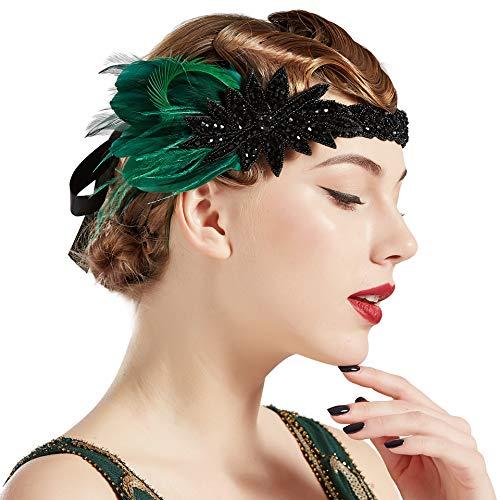 BABEYOND Fascia per capelli da donna anni '20 con piume, stile Charleston, ideale per costume di carnevale verde scuro Taglia unica
