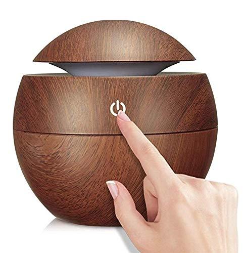 Wosume Umidificatore ad ultrasuoni LED Touch Aroma Purificatore d'Aria ad ultrasuoni USB Diffusore di Olio Essenziale(Venatura del Legno Scuro)