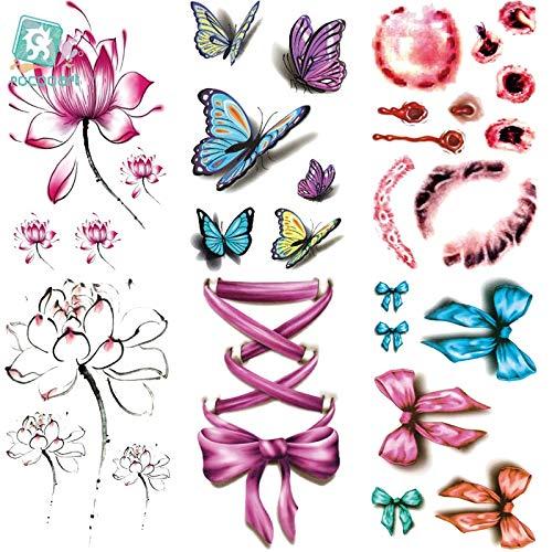 BLOUR Rocooart RC202-230 2018 Adesivi per Tatuaggi USA e Getta Fiore di Giglio di Acqua Dolce Adesivo per Tatuaggio temporaneo con Farfalla Floreale Cicatrici