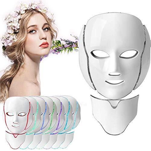 Velidy, maschera per terapia della luce, 7 colori, a LED, per viso e collo, maschera di bellezza rassodante, antirughe, sbiancante, per uso domestico e salone