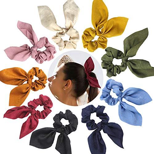 Confezione da 9 elastici per capelli, modello schruncies, con orecchie da coniglio, in chiffon, per coda di cavallo, morbidi ed eleganti, 9 colori