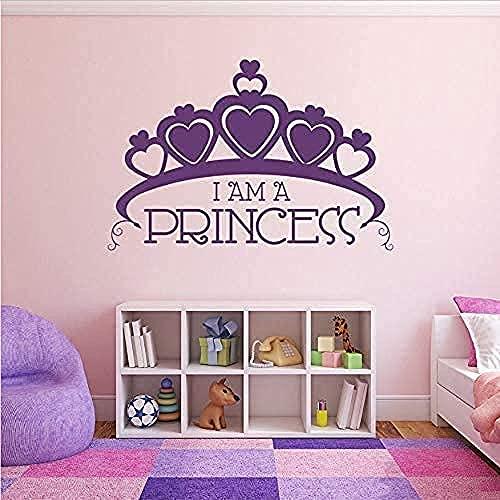 wwccy wall stickers big crown wall Io sono una principessa PVC room girl decorazione murale a forma di cuore principessa corona tatuaggio 86X57 cm