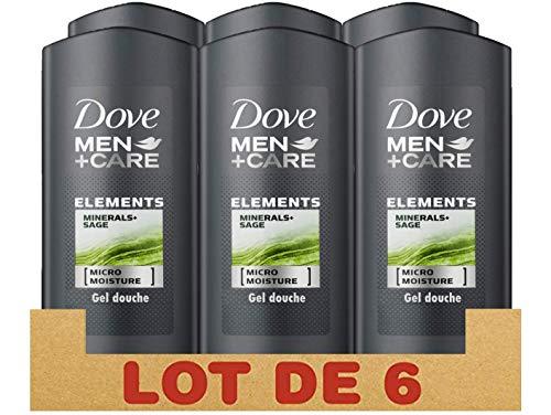 Dove Men+Care - Gel doccia da uomo minerali e salvia, idratante e rinfrescante, confezione da 6 x 250 ml