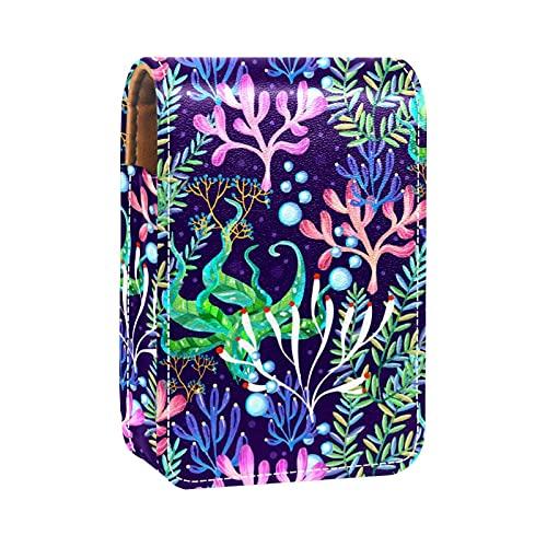 Rossetto colorato corallo custodia per rossetto esterno per borsa mini rossetto borsa da viaggio cosmetici con specchio per le donne prende fino a 3 rossetti