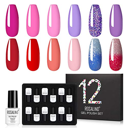 ROSALIND Smalto Semipermanente Unghie Kit Viola Rossa Lavanda Glitter Smalti Semipermanenti Per Unghie Gel Soak Off UV LED Vernice Manicure Nail Art 12x7ml