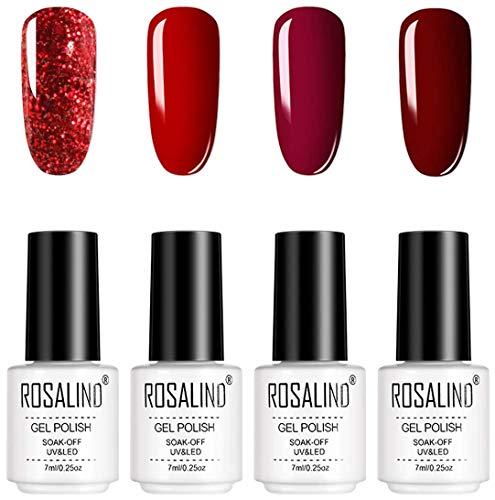ROSALIND Rosso Smalto Semipermanente 4 Colori Set Smalti Semipermanenti Per Unghie Soak off UV Gel Ricostruzione 7ml