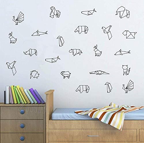 Adesivo Da Parete 60X54cm origami Animali Decalcomania Da Muro In Vinile Camera Da Letto Tatuaggio Da Parete Decorazioni Per La Camera Dei Bambini Adesivi Per La Scuola Materna Carta Da Parati