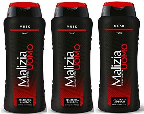 MALIZIA UOMO Musk - 3 gel doccia e shampoo 2 in 1, 250 ml
