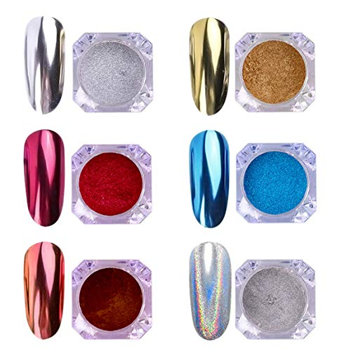 AIMEILI 6 Boxs Polvere Unghie Effetto Specchio Polveri Unghie Effetto Perla Iridescente Chrome Laser Chameleon Peacock Holographic Pigmento Glitter Metallizati Kit di Decorazione Nail Powder