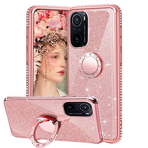 XTCASE Cover Glitter per Xiaomi Poco F3 5G / Xiaomi Mi 11i, Custodia Brillantini Diamanti con Supporto Girevole a 360 Gradi, Ultra Sottile Morbid TPU Silicone Antiurto Protettiva Case, Rosa