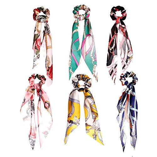 6 pezzi vintage floreale sciarpa capelli cravatte in raso di seta fiocco capelli Scrunchies titolare elastico fascia per capelli con perla per donne ragazze