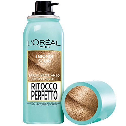 L'Oréal Paris Spray Radici Ritocco Perfetto, Colorazione Ricrescita, Copre i Capelli Bianchi e Dura 1 Shampoo, Biondo Scuro, 75 ml, Confezione da 1