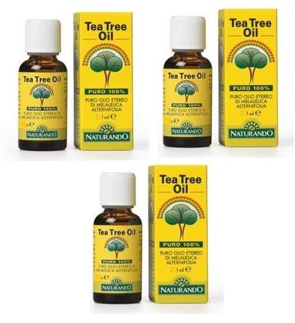 NATURANDO - TEA TREE OIL 3 CONFEZIONI DA 30 ML antibatterico, antimicotico, mucolitico, anti-infiammatorio - [KIT CON SAPONETTA NATURALE QUIZEN IN OMAGGIO]