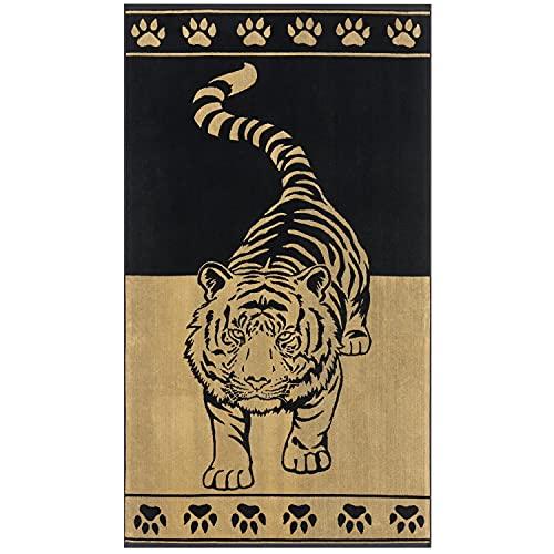 Delindo Lifestyle® - Telo mare in spugna Tropical, motivo: tigre, colore: oro, 100% cotone, dimensioni 100 x 180 cm