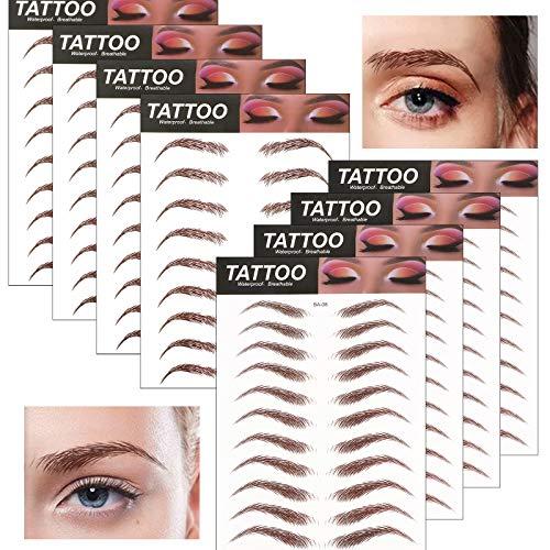 FLOFIA 80 Paia Sopracciglia Adesive Finte False Naturali Perfette Sopracciglia Tatuaggio Bioniche Professionale per Donna Ragazza Marrone