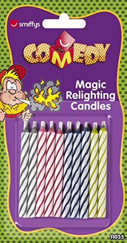Smiffy's Smiffys Candele magiche che si riaccendono, Time 4 Fun, 10 per Adulti, Multicolore, 11035