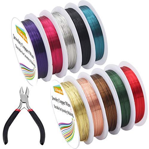 EuTengHao 10 confezioni gioielli rame filo artigianale gioielli filo perline per bracciale collane orecchino creazione di gioielli forniture (10 colori, 26 gauge)