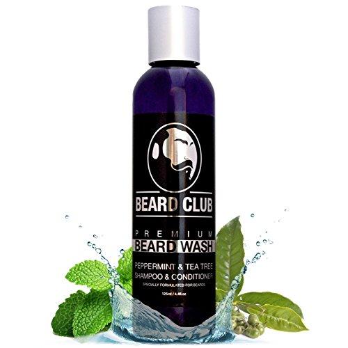 Shampoo e Balsamo Premium per Barba | Menta Piperita e Olio Dell'albero del tè | 125 ml | Lavaggio Barba al 100% Naturale & Biologico