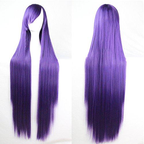 Donne delle ragazze delle signore 100 centimetri colore viola lungo rettilineo parrucche di alta qualità dei capelli Carve Cosplay Anime di Bangs completa sexy Parrucche