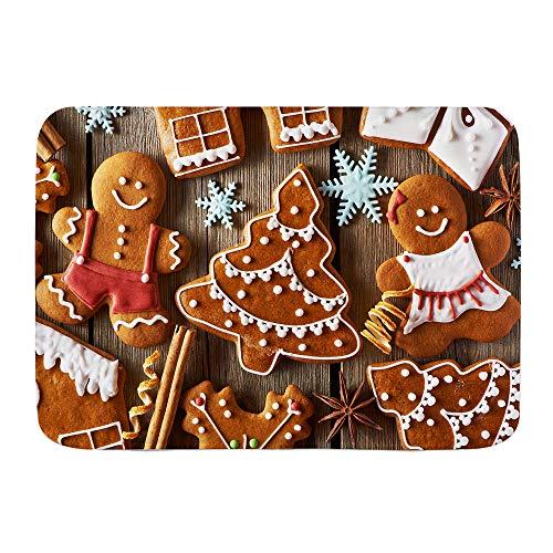 XINGAKA Tappetini da Bagno per Bagno,Biscotti casalinghi del Pan di Zenzero di Natale sulla tavola di Legno,Tappetinida Bagno Antiscivolo con Assorbente d'Acqua,Tappetino per Pediluvio Morbido