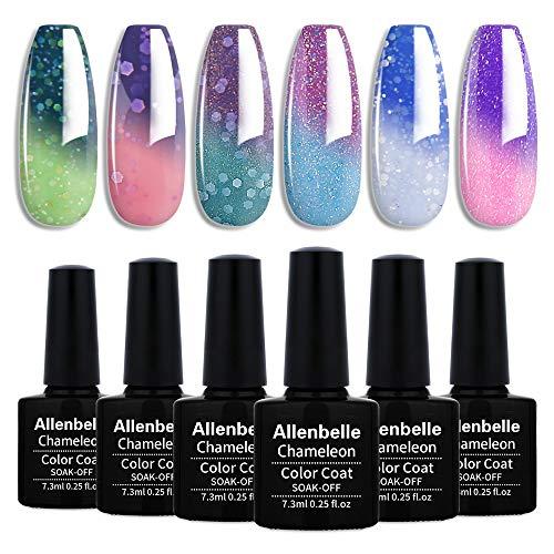 Allenbelle Smalto Semipermanente Camaleonte Nail Polish UV LED Gel Unghie (Kit di 6 pcs 7.3ML/pc) 0013