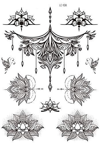 Tatuaggi a forma di fiori mandala con motivo di henné, LC108