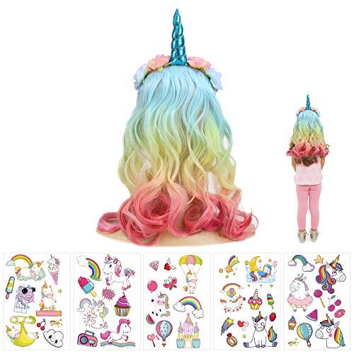 JOOPOM Cerchietto Unicorno Con Capelli Unicorno Fascia Bambina Carnevale Corno Hairband AVEC Capelli Colorati Corna Cerchietto Accessori Unicorno per Costumi Cosplay Bomboniere Compleanno