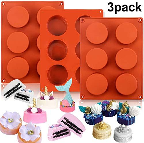 YUIP Stampo in silicone cilindro a 6 cavità, stampi a cilindro da 3 pezzi per fare sapone fatto a mano, cioccolato, candele di sapone e gelatina