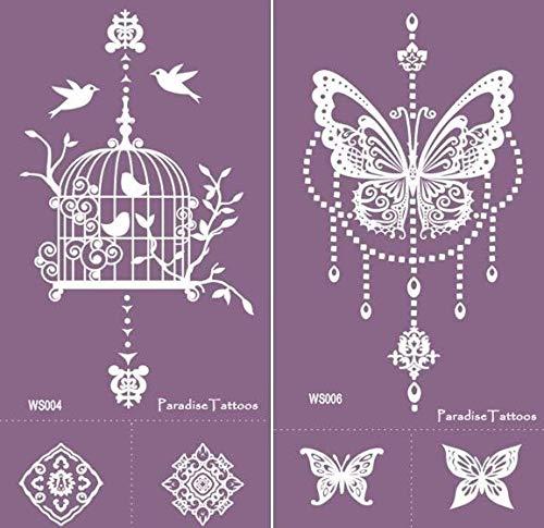 Farfalla e uccellini – Stencil per tatuaggi riutilizzabili, 2 fogli – Viola Mesh WS4 & WS6