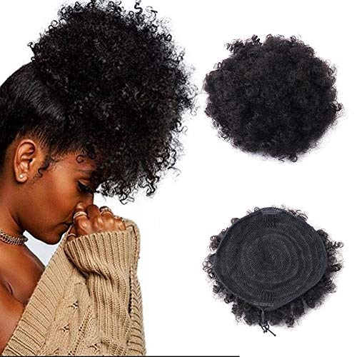 Capelli umani Afro ricci coda di cavallo Parrucche, africano naturale Puff coulisse Ponytail Hairpieces africano parrucca extension con clip (nero)
