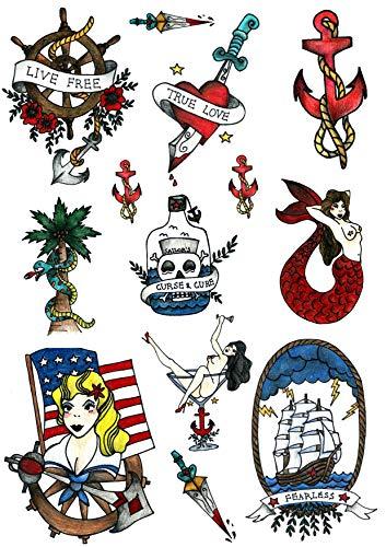 Set Tatuaggi Temporanei della Tatsy, Marinaio, Lupo di Mare, Uomo di Mare, Design Old School Unico e Inimitabile, Tatuaggi per Feste, Tatuaggio Coprente Finto per Uomo