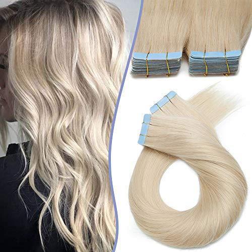 Elailite Extension Adesive Capelli Veri Biadesivo Nuovo Arrivato 1.5g/Ciocca Tape Biadesive 20 Fasce per Capelli Lisci Remy Human Hair Fini 55cm 30g #60 Biondo Platino