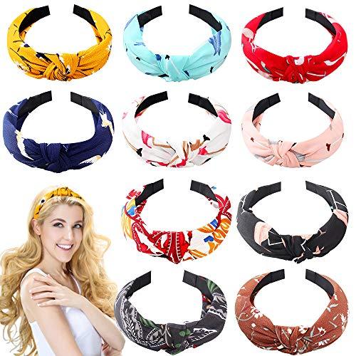 10 Pezzi Fasce Larghe Twist Knot Turban Fascia Fashion Elastic Floral Print Fascia per capelli Accessori per Donne e Ragazze, 10 Stili.