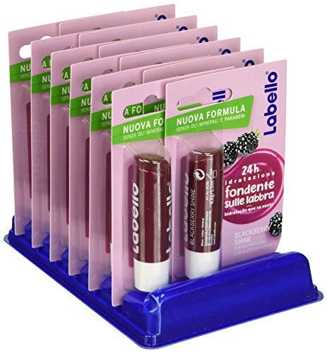Labello Blackberry Shine, Balsamo Labbra per Labbra Morbide e Idratante, Aroma di Mora, Pacco da 12 Pezzi