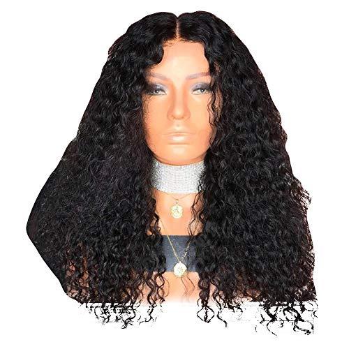 Parrucche europee e americane parrucche da donna grandi onde nere lunghe capelli ricci - Parrucca del merletto delle donne Parrucche sintetiche resistenti al calore resistenti