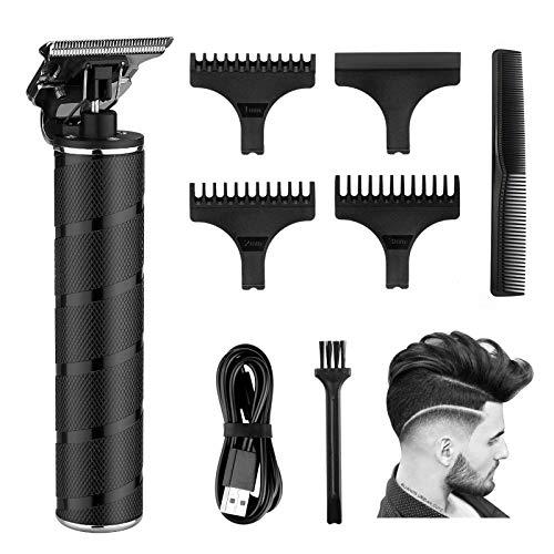 RiRGI - Rasoio elettrico a T da 0 mm, ricaricabile tramite USB, rasoio professionale per uomini, con 3 pettini guida, spazzola e cavo di ricarica USB
