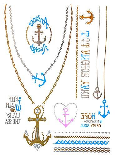 Oh My Shop tab40–Tatuaggi Temporanei, 1fiocco, Metallic, Body Art marinaio motivi–Argento/Oro/Blu