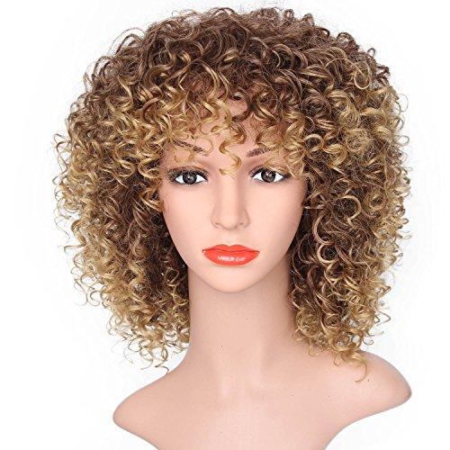 AOMOSA Parrucca mista marrone e bionda Parrucca corta riccia afro crespa Parrucche sintetiche per donne nere Fibra alta sintetica Capelli16 pollici