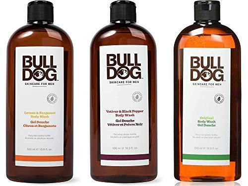 Bulldog Set 3 Gel Doccia con Limone e Bergamotto, 500 ml, Vetiver e Pepe Nero, 500 ml e Original, 500 ml