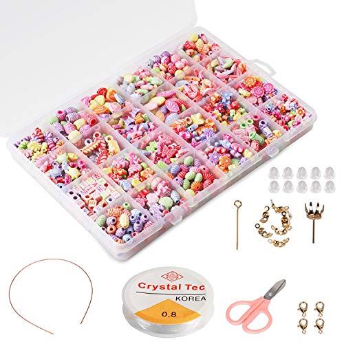 Phogary Perline Fai da Te per Bambini Set (500pcs), Bracciali Fai da Te Collane Perline per Gioielli Fare per Bambini Collana di Perle Bracciale Fare Kit Come Perline Kit Regalo per Ragazze