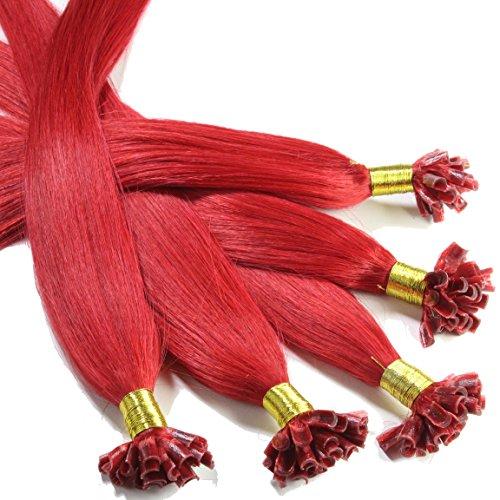 Hair2Heart 25 x 0,5g Extension Capelli Veri Cheratina - 30cm, Colore #Rosso, liscio