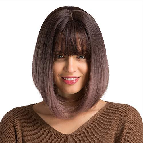 Emmor Parrucche corte viola rosa per le donne parrucca viola ombre Bob con frangia Capelli in fibra sintetica dall'aspetto naturale, parrucca da festa quotidiana cosplay