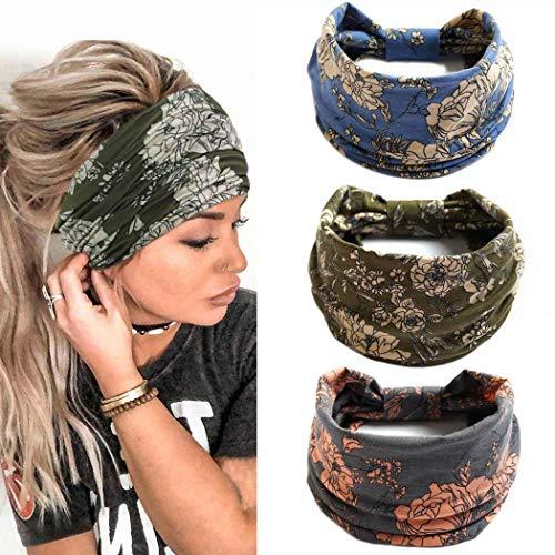 Yean Fasce per capelli Boho Yoga Fasce elastiche larghe Fasce per capelli blu Accessori per capelli floreali per donne e ragazze (confezione da 3) (D)