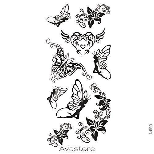 AVASTORE - Tatuaggio temporaneo da donna, motivo: fata, farfalla, colore: Nero