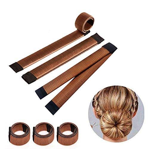 3 Pezz Accessori capelli Ciambelle per chignon Hair magic capelli ragazza Clip Hairstyle ,marrone colore