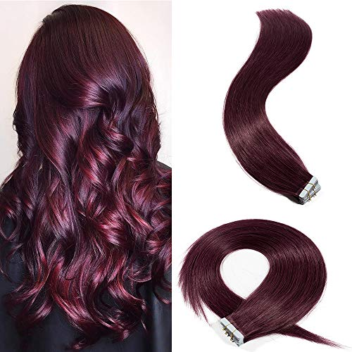 Extension Capelli Veri Biadesivo Extension Adesive Remy Human Hair 1.5g/Fascia Lisci Naturali Umani Lunghi Seamless (20pcs 60cm 99J Vino Rosso)