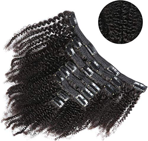 Clip Extension Capelli Veri 50cm extension capelli ricci clip afro 8 Pezzo, extension di capelli ricci clip veri 18 Clips 20 Pollici 1B# Nero Naturale
