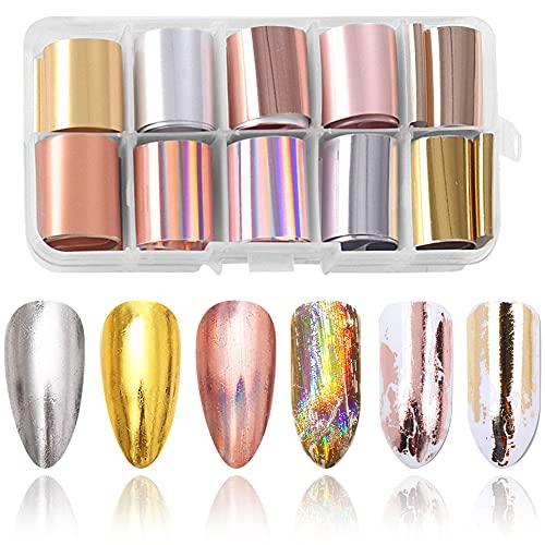 YMDZ 10 Pezzi di Adesivi Per Unghie Adesivi Per Unghie In Gel Adesivo Per Unghie Olografico Attrezzatura per Decorazioni Fai-da-te Nail Art