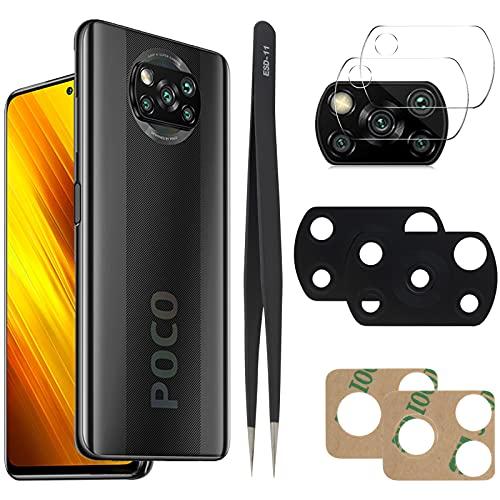 YHX-OU Per Xiaomi Poco x3 NFC Mi 10T Lite Poco X3 Poco X3 PRO Lente Vetro Camera Posteriore [2 Pezzi] con pinzette + [2 Pezzi] Camera Vetro temperato